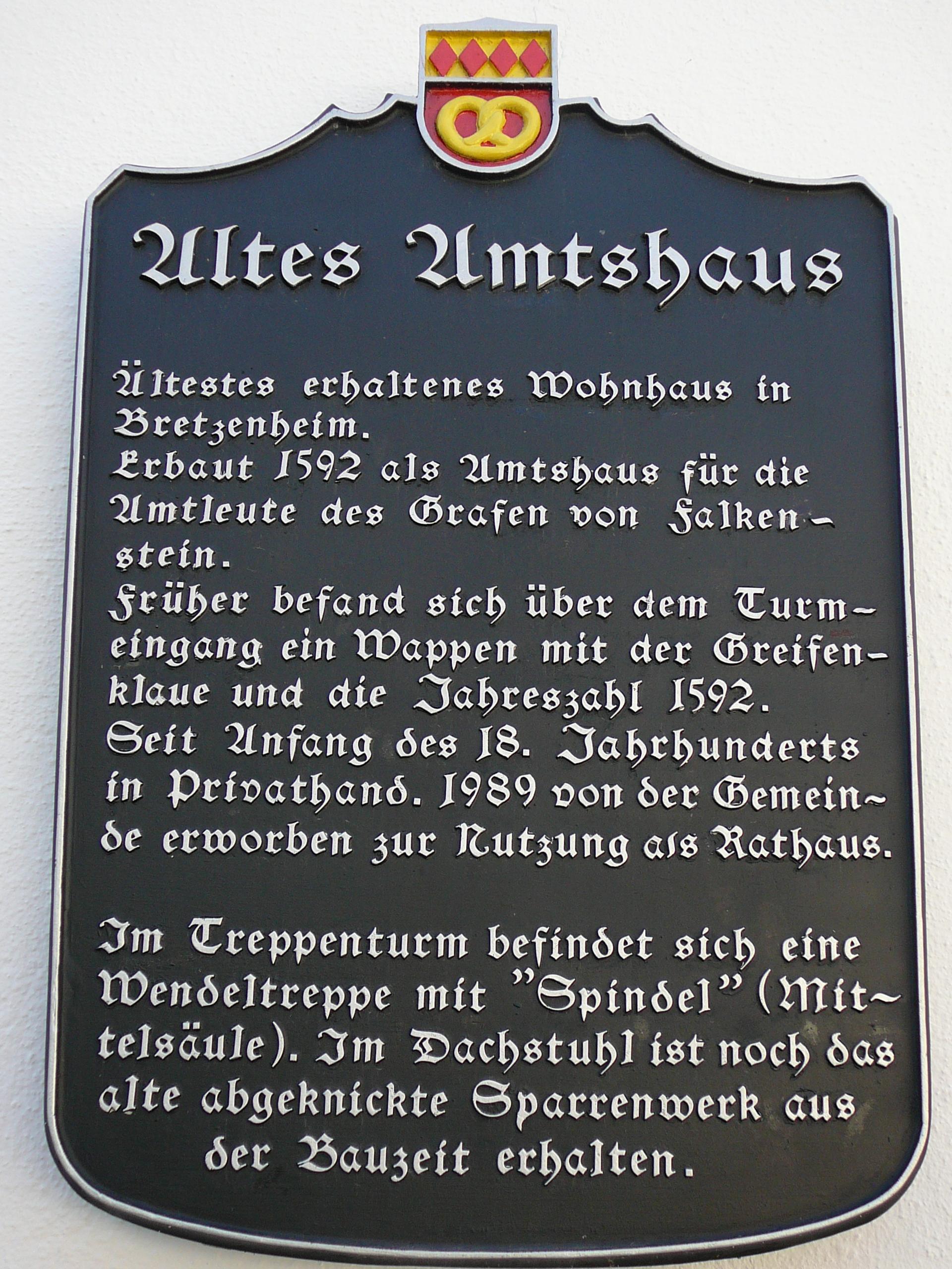 Erläuterung zur Geschichte des Rathauses - Tafel am Gebäude